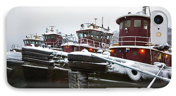 Snow Covered Tugboats IPhone Case by Eric Gendron
