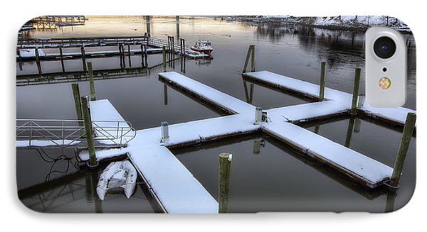 Snow On The Docks IPhone Case by Eric Gendron
