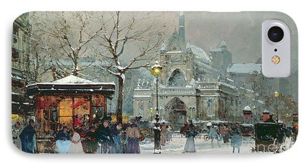 Snow Scene In Paris IPhone Case by Eugene Galien-Laloue