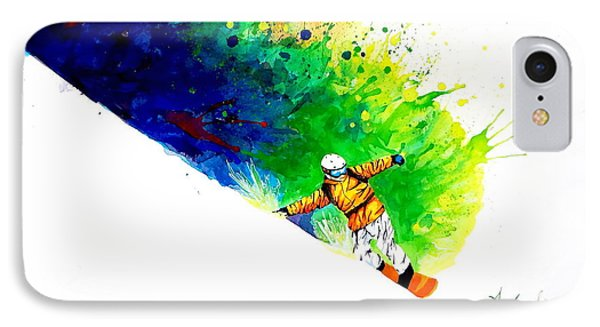 Snowboarder 1 IPhone Case by Angee Skoubye