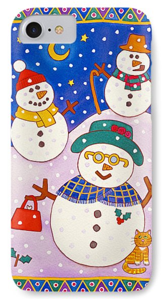 Snowmen In The Snow  IPhone Case by Cathy Baxter