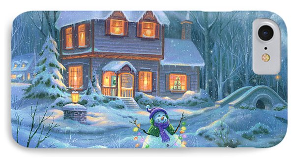 Snowy Bright Night IPhone Case by Michael Humphries