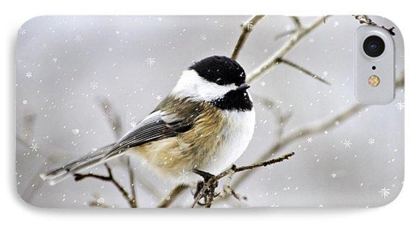 Snowy Chickadee Bird IPhone Case by Christina Rollo