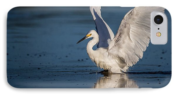 Snowy Egret Frolicking In The Water IPhone Case by Andres Leon