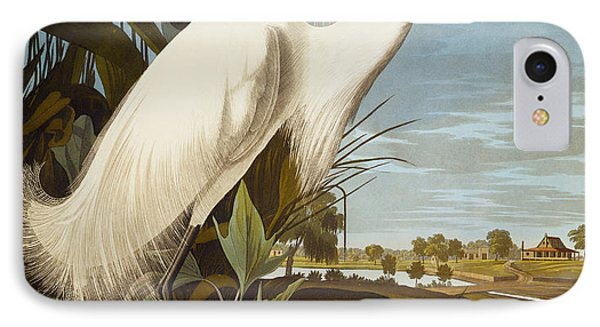 Snowy Heron Or White Egret IPhone 7 Case by John James Audubon