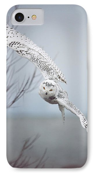 Snowy Owl In Flight IPhone 7 Case by Carrie Ann Grippo-Pike