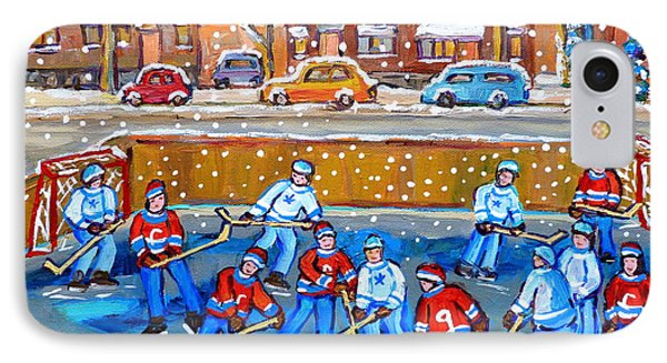 Snowy Rink Hockey Game Montreal Memories Winter Street Scene Painting Carole Spandau Phone Case by Carole Spandau