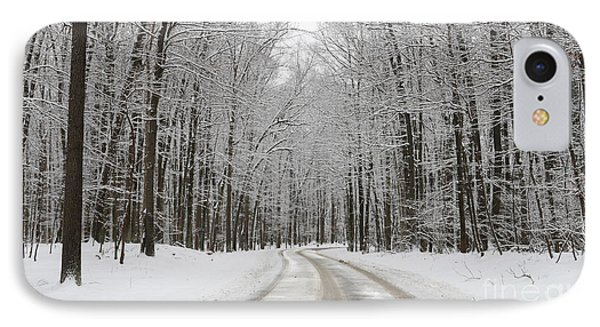 Snowy Road In Oak Openings 7058 IPhone Case by Jack Schultz