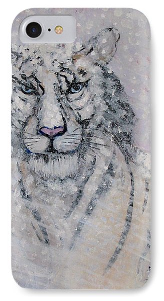Snowy White Tiger Or Chairman Of The Board Phone Case by Phyllis Kaltenbach