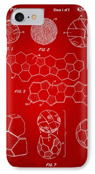 Soccer Ball Construction Artwork - Red IPhone Case by Nikki Marie Smith