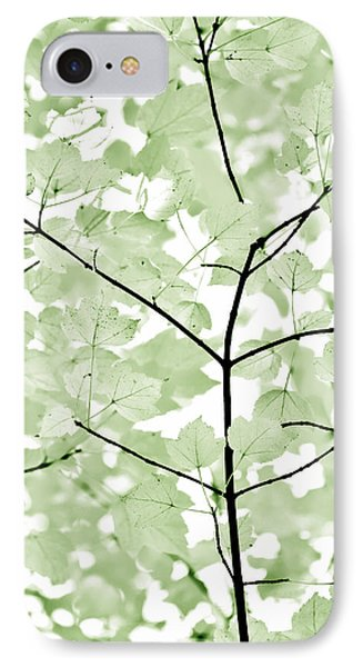 Soft Forest Green Leaves Melody Phone Case by Jennie Marie Schell