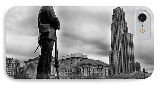 Soldiers Memorial And Cathedral Of Learning Phone Case by Thomas R Fletcher