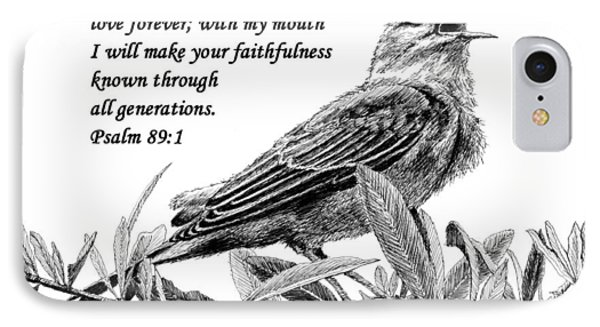 Songbird Drawing With Scripture Phone Case by Janet King