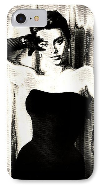 Sophia Loren - Black And White Phone Case by Absinthe Art By Michelle LeAnn Scott