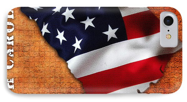 South Carolina American Flag State Map IPhone Case by Marvin Blaine