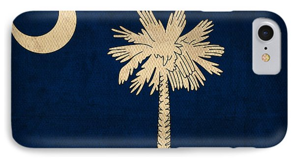 South Carolina State Flag Art On Worn Canvas IPhone Case by Design Turnpike