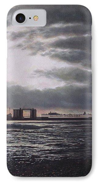Southampton Docks From Weston Shore Winter Sunset Phone Case by Martin Davey