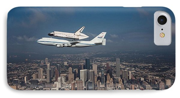 Space Shuttle Endeavour Over Houston Texas IPhone Case by Movie Poster Prints