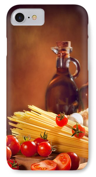 Spaghetti Pasta With Tomatoes And Garlic IPhone Case by Amanda Elwell