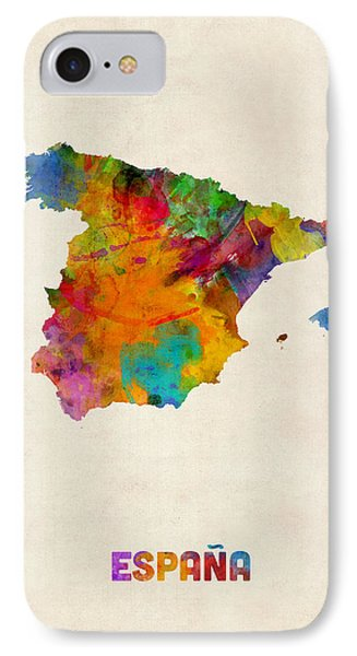 Spain Watercolor Map Phone Case by Michael Tompsett