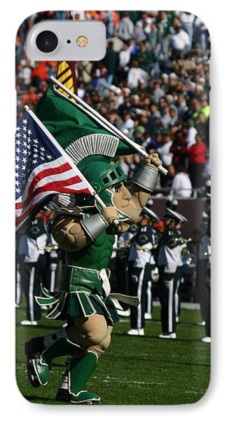Sparty At Football Game IPhone 7 Case by John McGraw