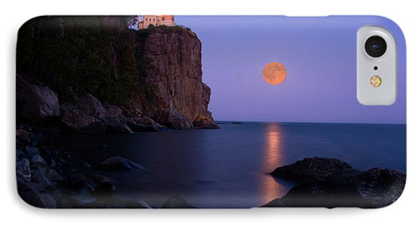Split Rock Lighthouse - Full Moon IPhone Case by Wayne Moran