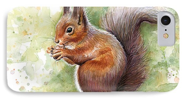 Squirrel Watercolor Art IPhone Case by Olga Shvartsur