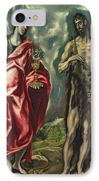 St John The Evangelist And St John The Baptist IPhone Case by El Greco Domenico Theotocopuli
