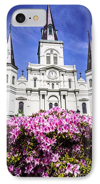 St. Louis Cathedral And Flowers In New Orleans Phone Case by Paul Velgos