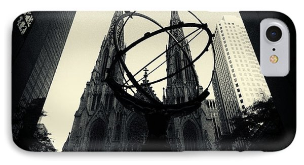 St Patrick's Cathedral And Statue Of Atlas New York City IPhone Case by Sabine Jacobs