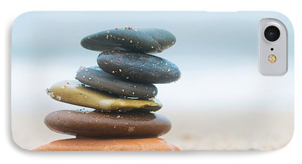 Stack Of Beach Stones On Sand IPhone Case by Michal Bednarek