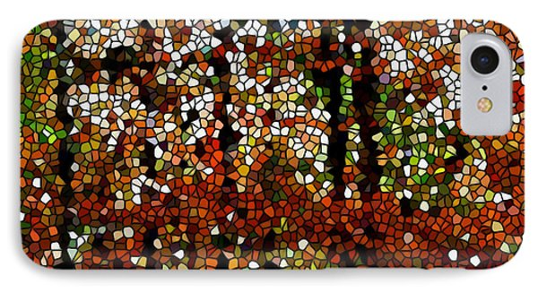 Stained Glass Autumn Colors In The Forest  Phone Case by Lanjee Chee