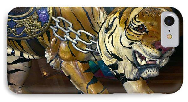 Stalking Tiger Of Looff Carousel  1909 IPhone Case by Daniel Hagerman