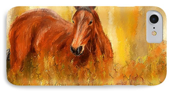 Stallion In Autumn - Bay Horse Paintings IPhone Case by Lourry Legarde