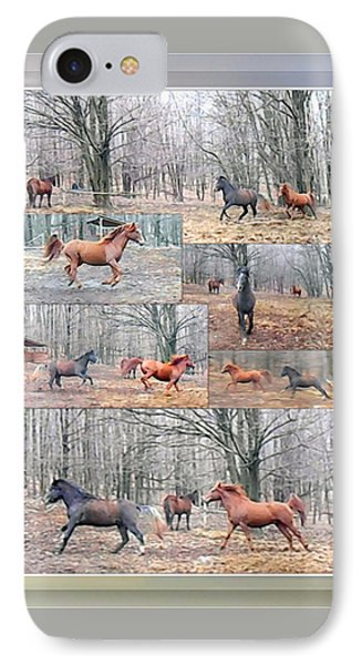 Stallions Enjoy Some Horsing Around Phone Case by Patricia Keller