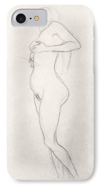 Standing Nude Girl Looking Up IPhone Case by Gustav Klimt