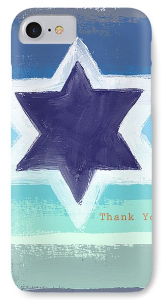 Star Of David In Blue - Thank You Card IPhone Case by Linda Woods