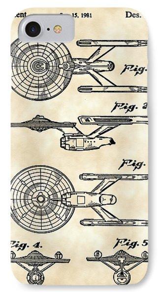 Star Trek Uss Enterprise Toy Patent 1981 - Vintage IPhone Case by Stephen Younts