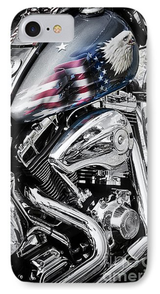 Stars And Stripes Harley  IPhone Case by Tim Gainey