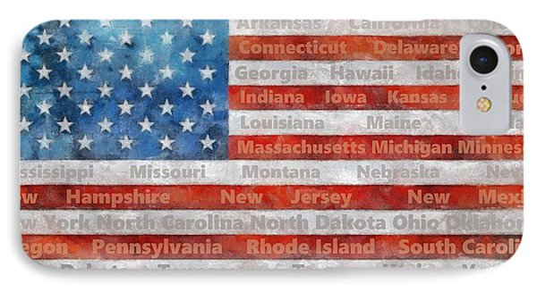 Stars And Stripes With States IPhone Case by Michelle Calkins