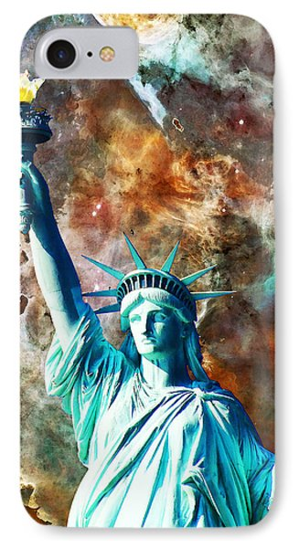 Statue Of Liberty - She Stands IPhone Case by Sharon Cummings