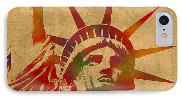 Statue Of Liberty Watercolor Portrait No 2 IPhone 7 Case by Design Turnpike