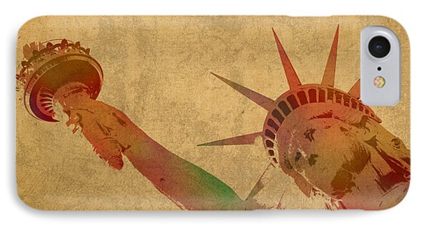 Statue Of Liberty Watercolor Portrait No 3 IPhone Case by Design Turnpike