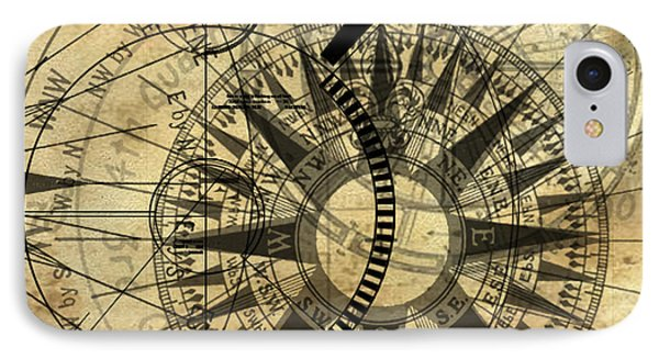 Steampunk Gold Compass Phone Case by James Christopher Hill