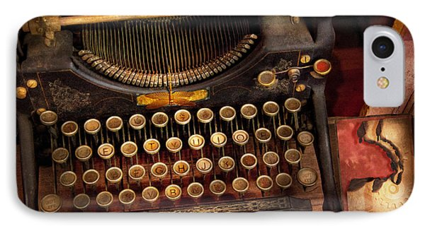 Steampunk - Just An Ordinary Typewriter  Phone Case by Mike Savad
