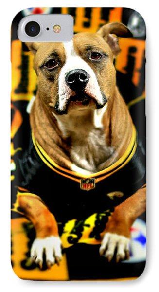Pitbull Rescue Dog Football Fanatic IPhone Case by Shelley Neff