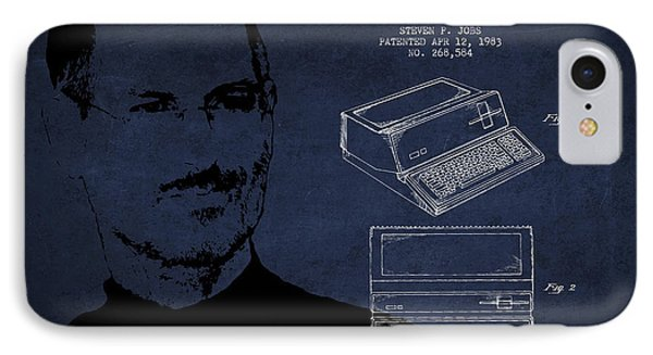Steve Jobs Personal Computer Patent - Navy Blue IPhone Case by Aged Pixel