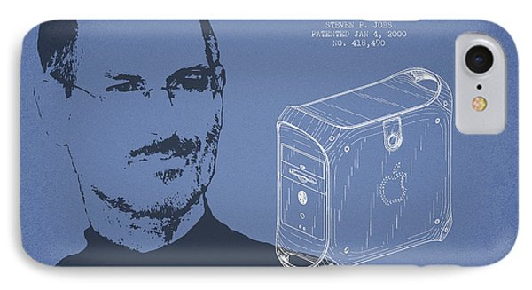 Steve Jobs Power Mac Patent - Light Blue IPhone Case by Aged Pixel