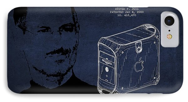 Steve Jobs Power Mac Patent - Navy Blue IPhone Case by Aged Pixel