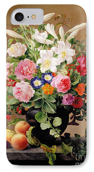 Still Life With Flowers And Fruit IPhone Case by V Hoier